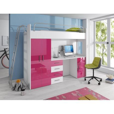 Dětská patrová postel s psacím stolem - Raj 4D