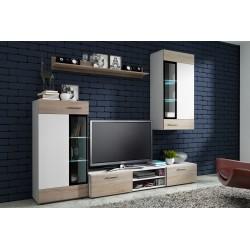 Obývací stěna Viki pro moderní domácnost - bílá / dub sonoma