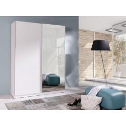 Šatní bílá skříň Batumi 150 se zrcadlem