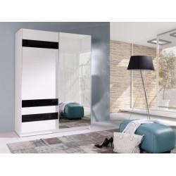 Šatní bíločerná skříň 150 Batumi se zrcadlem